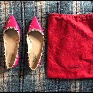 Valentino hot pink rockstud flats, size 40